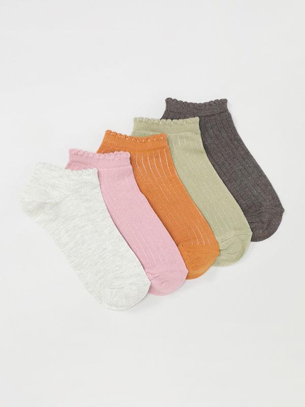 Pack de 5 pares de meias caneladas