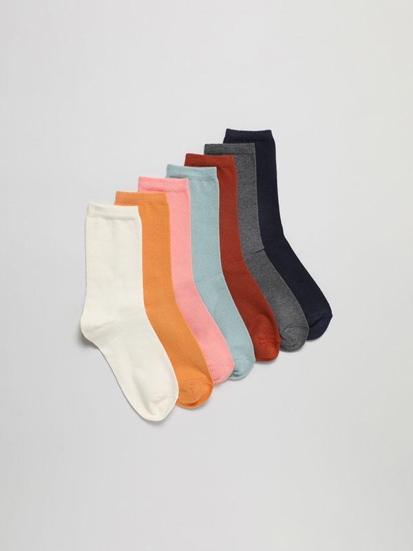 Pack de 7 pares de calcetíns longos básicos