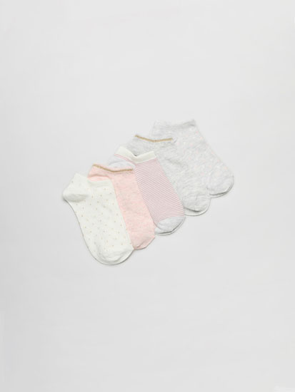 Pack of 5 pairs of ankle socks with polka dot and stripe prints