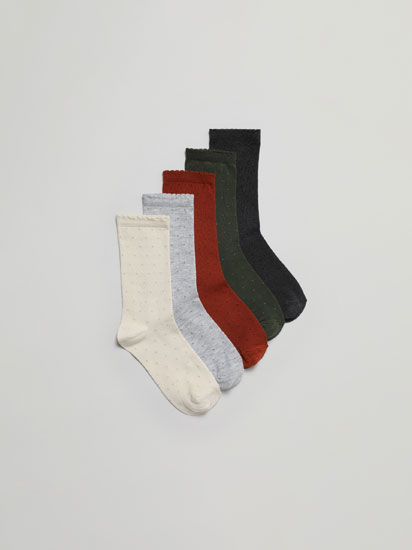 Pack of 5 pairs of long polka dot socks