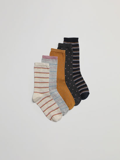 Pack of 5 pairs of printed long socks