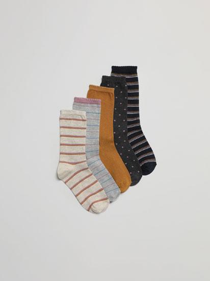 Pack de 5 pares de meias compridas estampadas