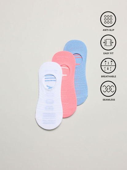 3-pack of no-show sports socks
