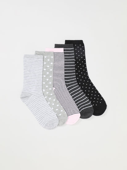 Pack de 5 pares de calcetines largos estampados