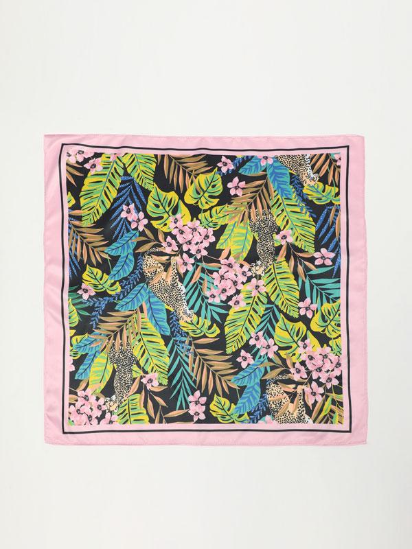 Printed satin handkerchief