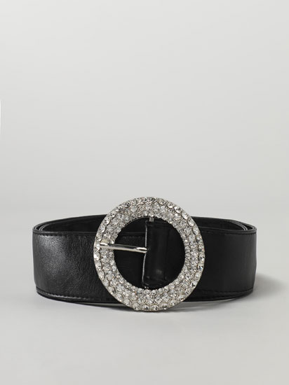 Wide belt with a rhinestone buckle