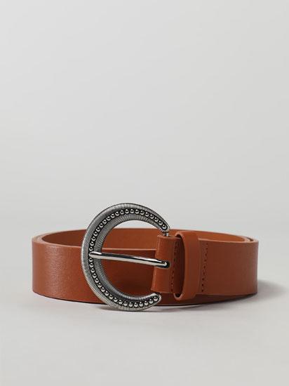 Belt with round buckle