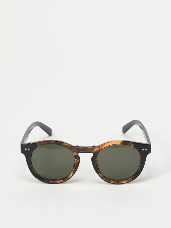 Round two-tone sunglasses