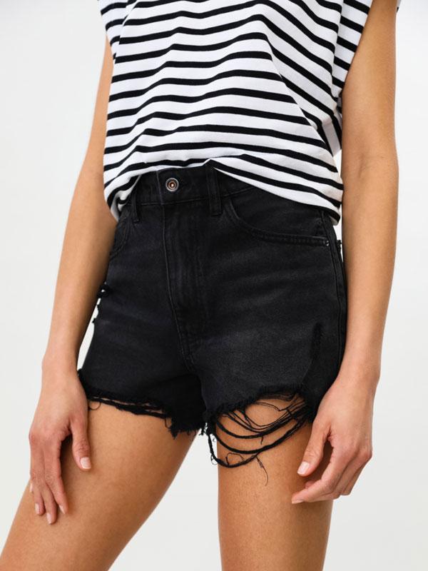 Ripped denim shorts