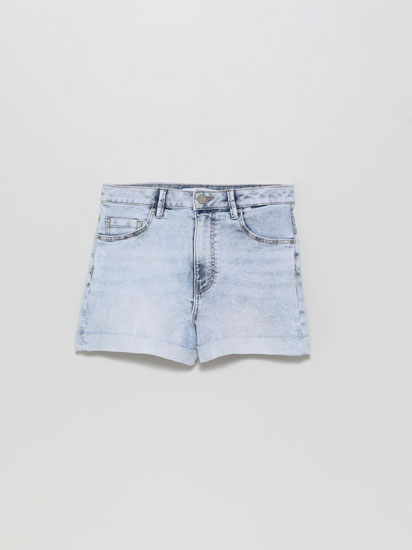 High waist basic denim shorts