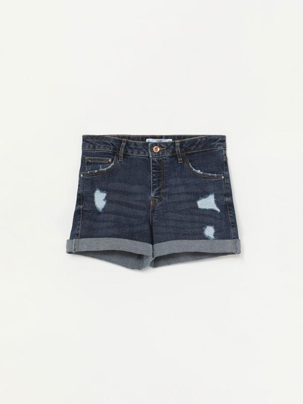 Pantalons curts texans bàsics amb esquinços