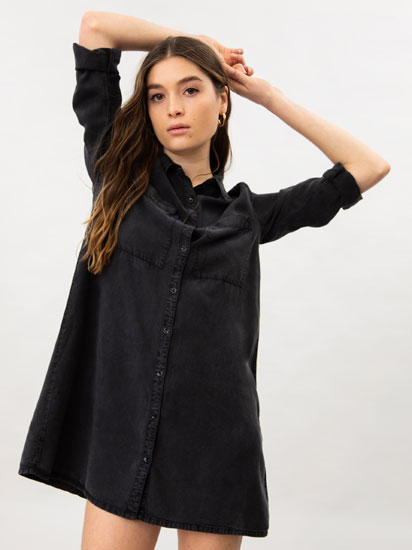 Flowing denim shirt dress
