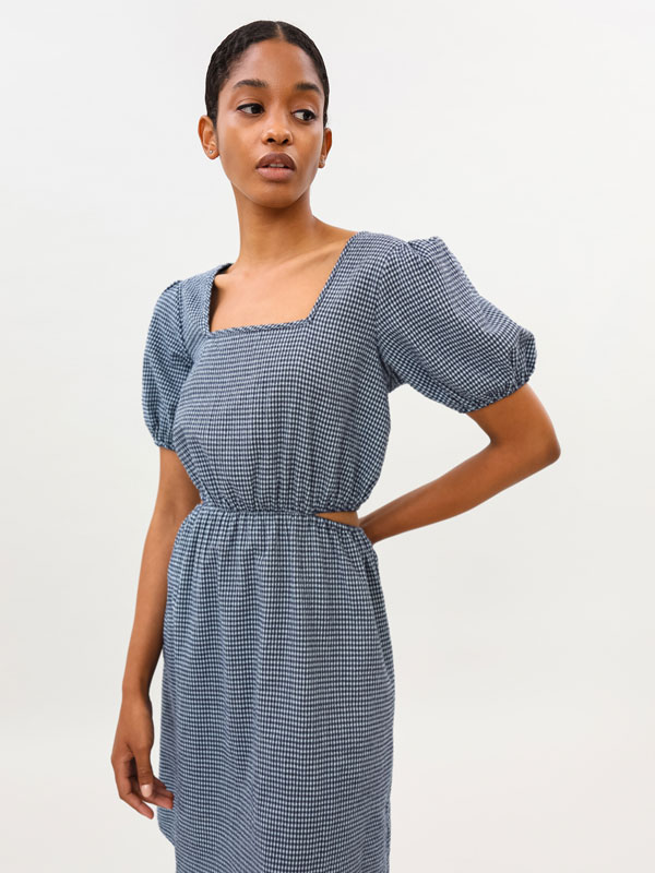 Denim dress with cut-out waist