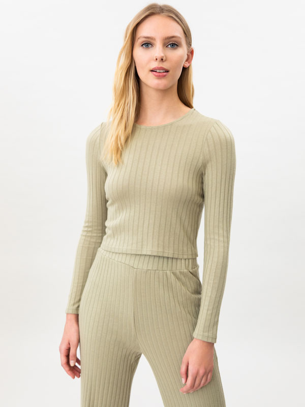 Ribbed cropped sweatshirt