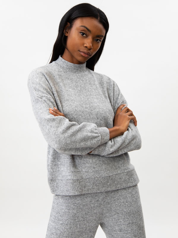 Knit high neck sweatshirt