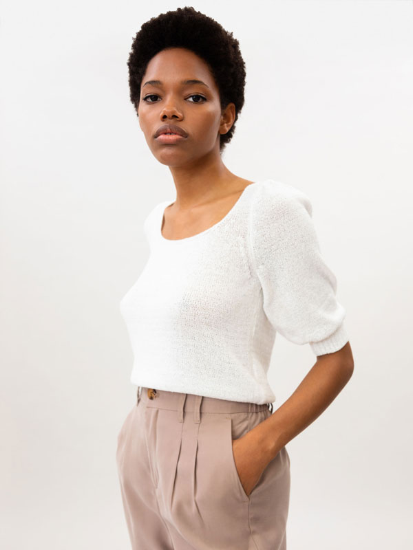 Knit top with puff sleeves