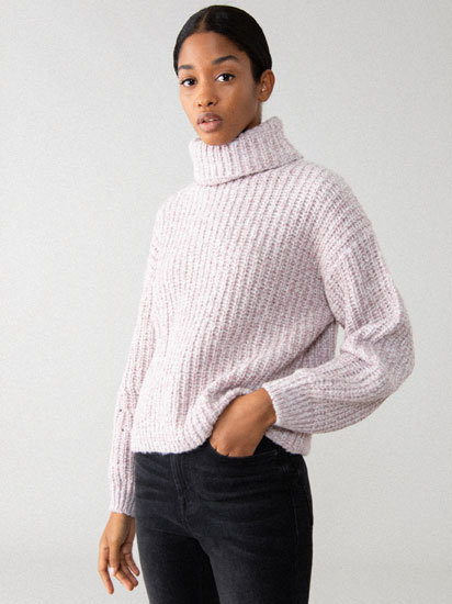 High neck chunky sweater