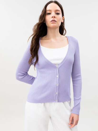 Ribbed knit cardigan