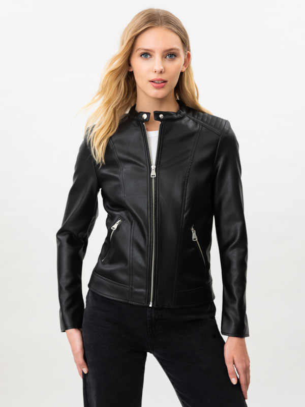 Basic faux leather jacket