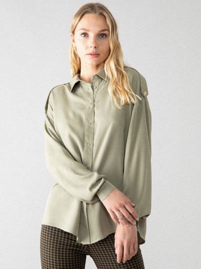 Oversized shirt with shoulder detail