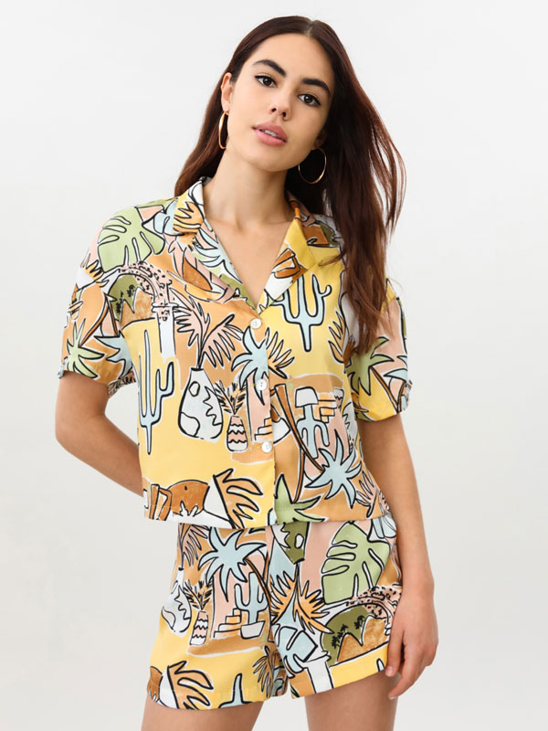 Camisa cropped estampada