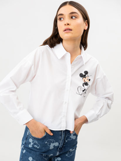 Camisa cropped amb estampat de Mickey Mouse ©Disney