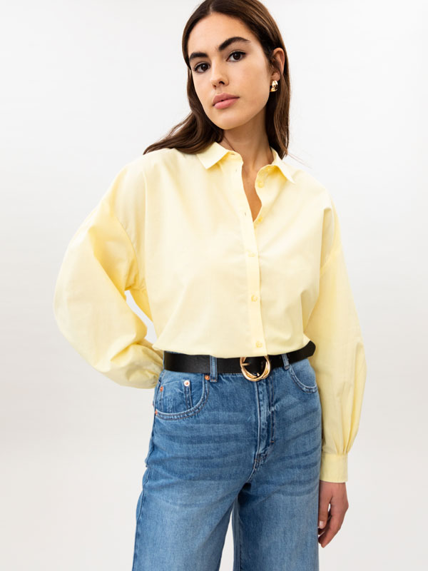 Puff sleeve poplin shirt