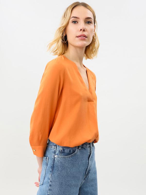 Camiseta básica de colo pico