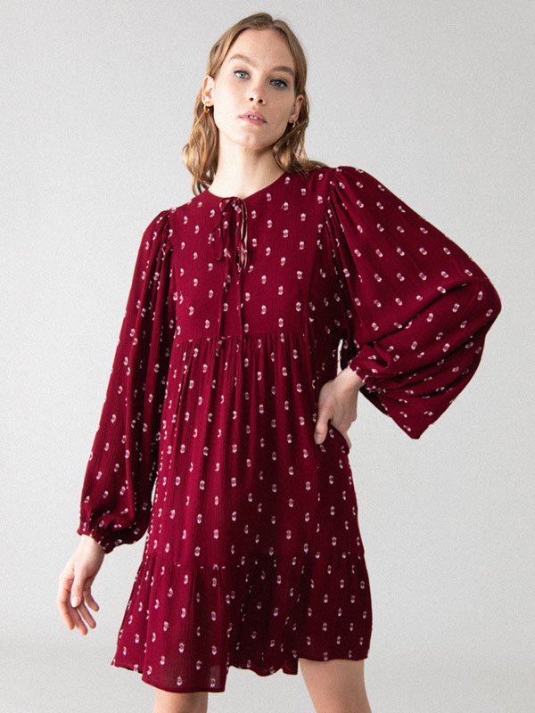 Puff sleeve plumetis dress
