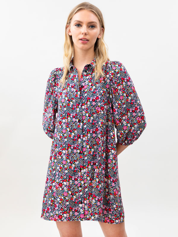 Shirt dress with 3/4 length sleeves