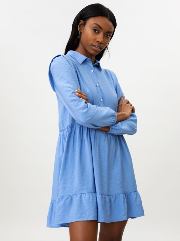 Shirt dress with shoulder detail