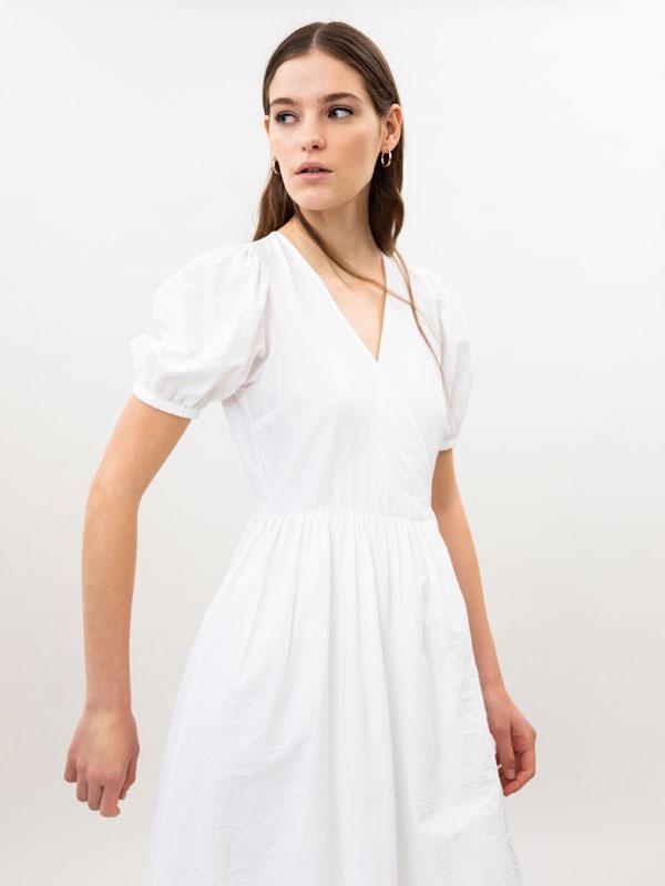 Vestido cruzado de popelina