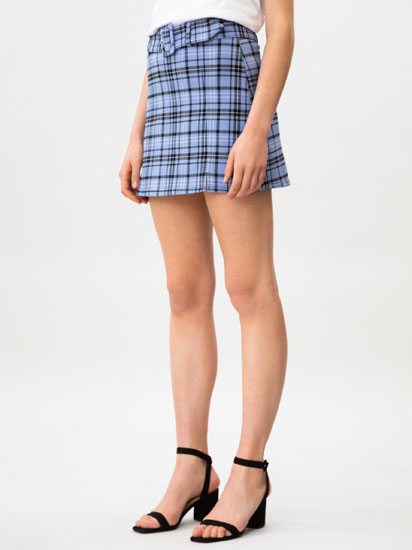 Check skirt with belt