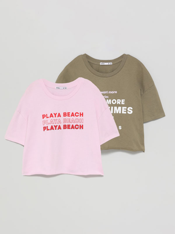 Pack de 2 camisetas cropped estampadas