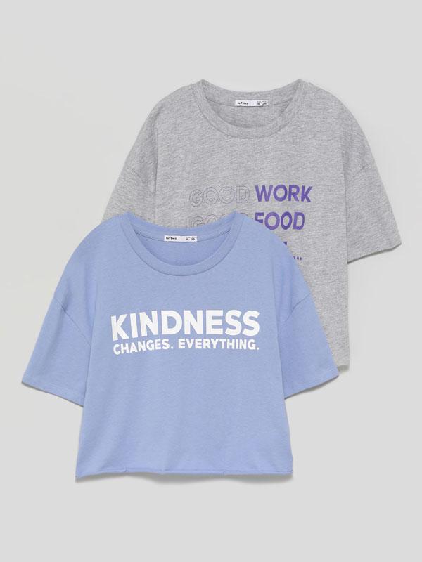 Pack de 2 t-shirts cropped estampadas