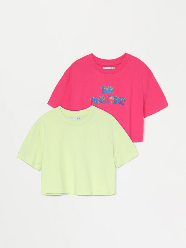 Pack de 2 t-shirts cropped lisa e estampada