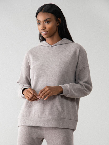 Hooded knit sweatshirt
