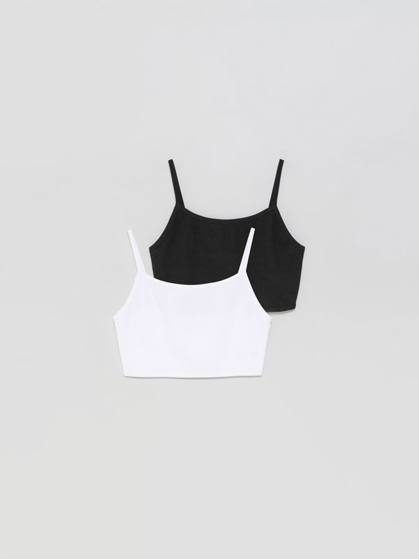 2-Pack of strappy crop tops