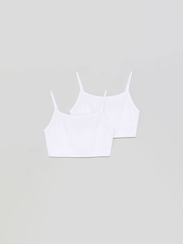 Paquet de 2 tops de tirants cropped