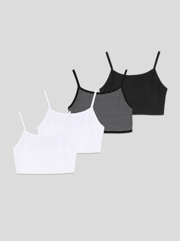 4-pack of strappy crop tops
