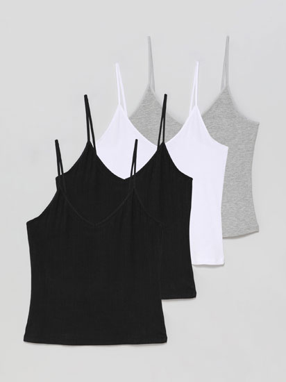 Pack of 4 basic ribbed strappy tops