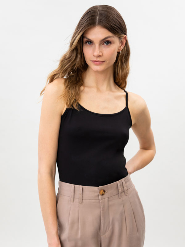 Stretch top with thin straps.