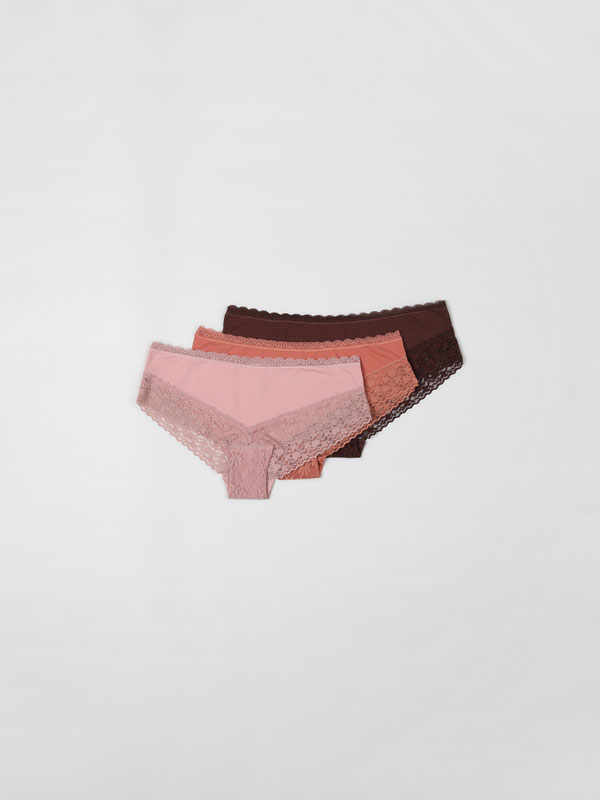 3-Pack of microfibre hipster briefs with lace trim