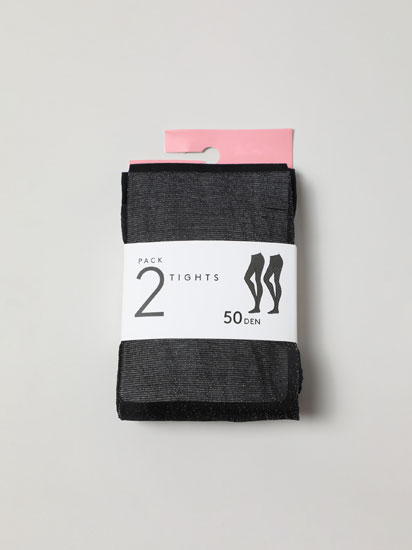 Pack of 2 pairs of embellished 50 den tights.