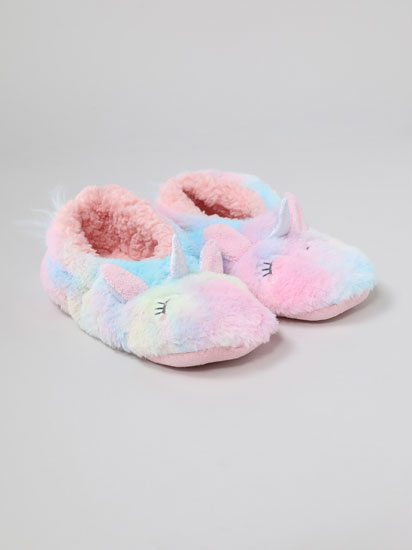 Faux fur slippers with unicorn print