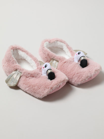 Faux fur flamingo slippers