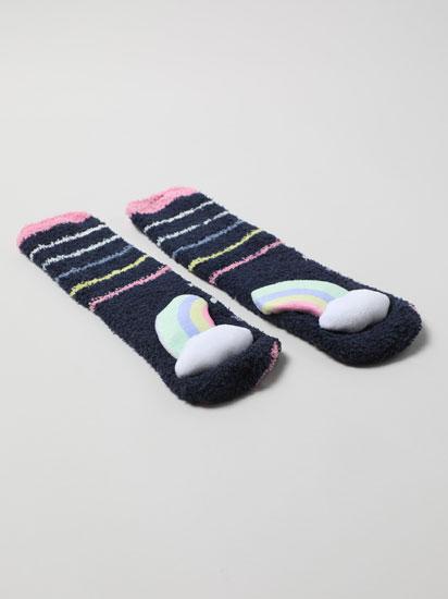 Par de meias antideslizantes com arco-íris