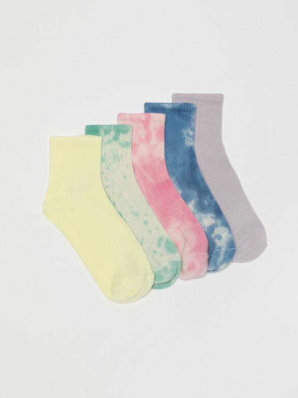 Pack of 5 pairs of long tie-dye socks