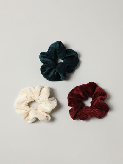 3-Pack of corduroy scrunchies