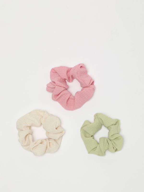 Pack de 3 elásticos de cabelo com textura